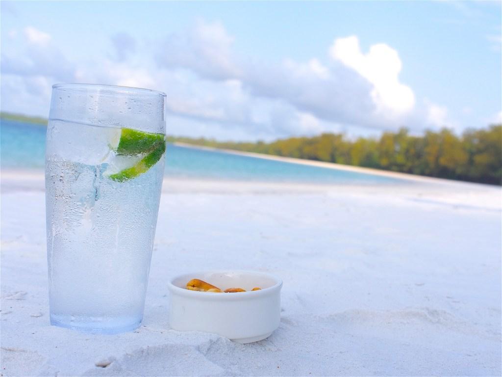 Gin and tonic on the beach in Tanzania