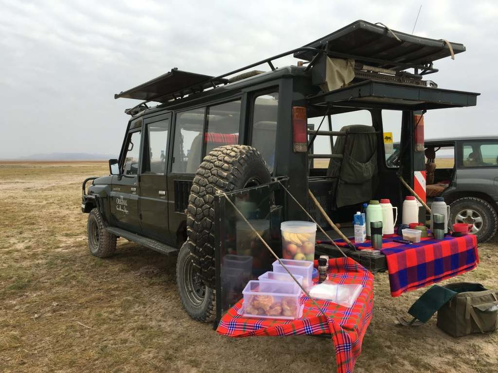Breakfast in the bush on safari