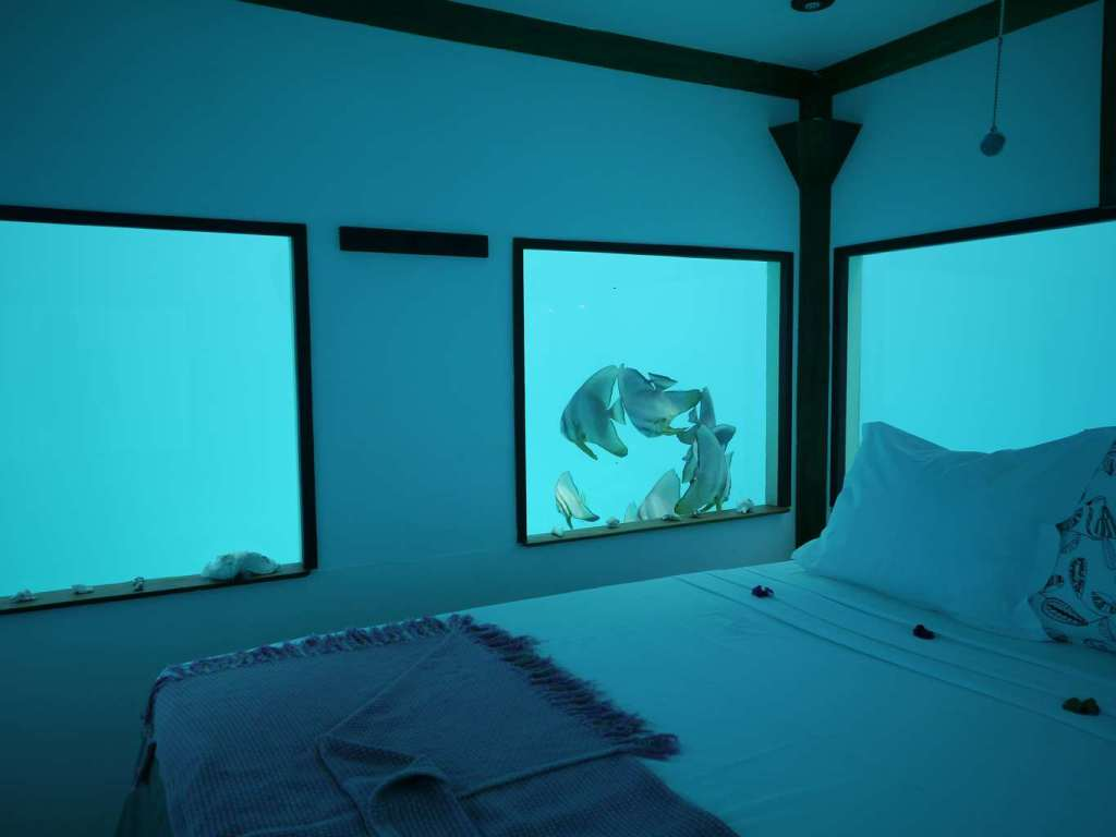 The underwater room at the Manta Resort on Pemba island
