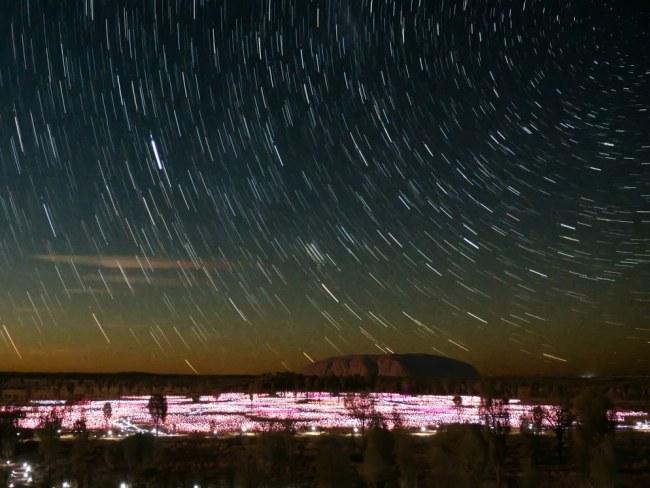 """Uluru Ayers Rock star trail and Filed of Light"""