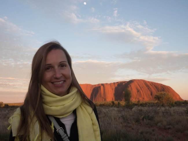 """Sunrise on Uluru Ayers Rock from viewpoint"""