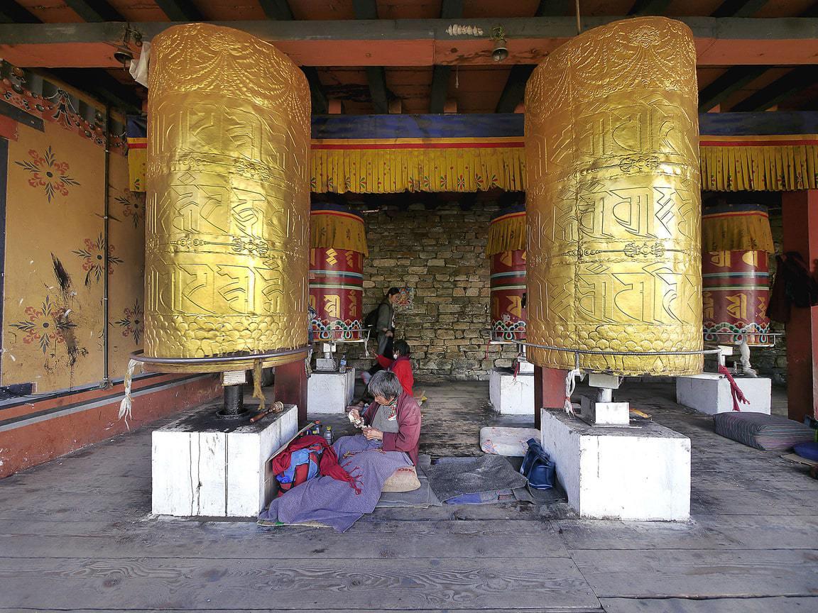 Prayer wheel at National Memorial Chorten in Thimphu