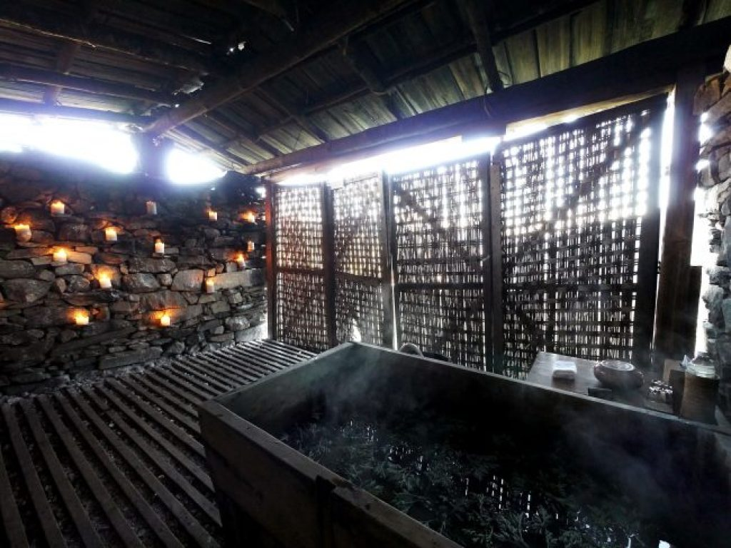 Hot stone bath in Bhutan