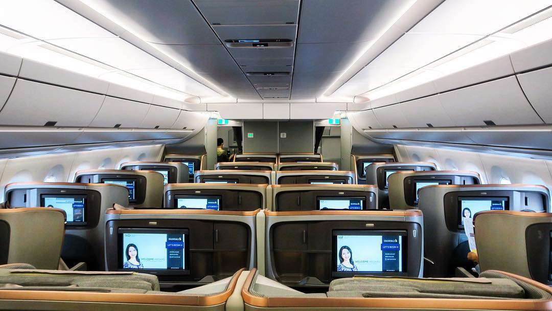 Business Class cabin of Singapore Airlines A350