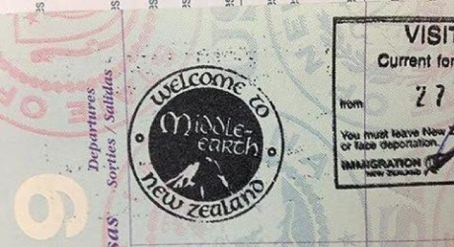 Passport stamp for Middle Earth