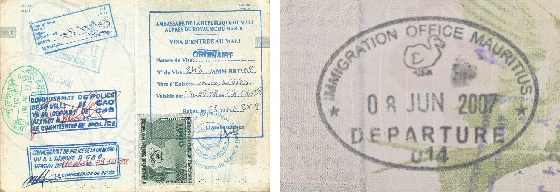 Passport stamp for Mali and Mauritius