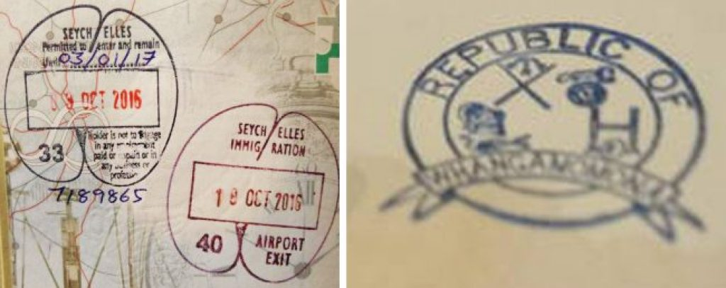 Passport stamps for Seychelles and Whangamomona