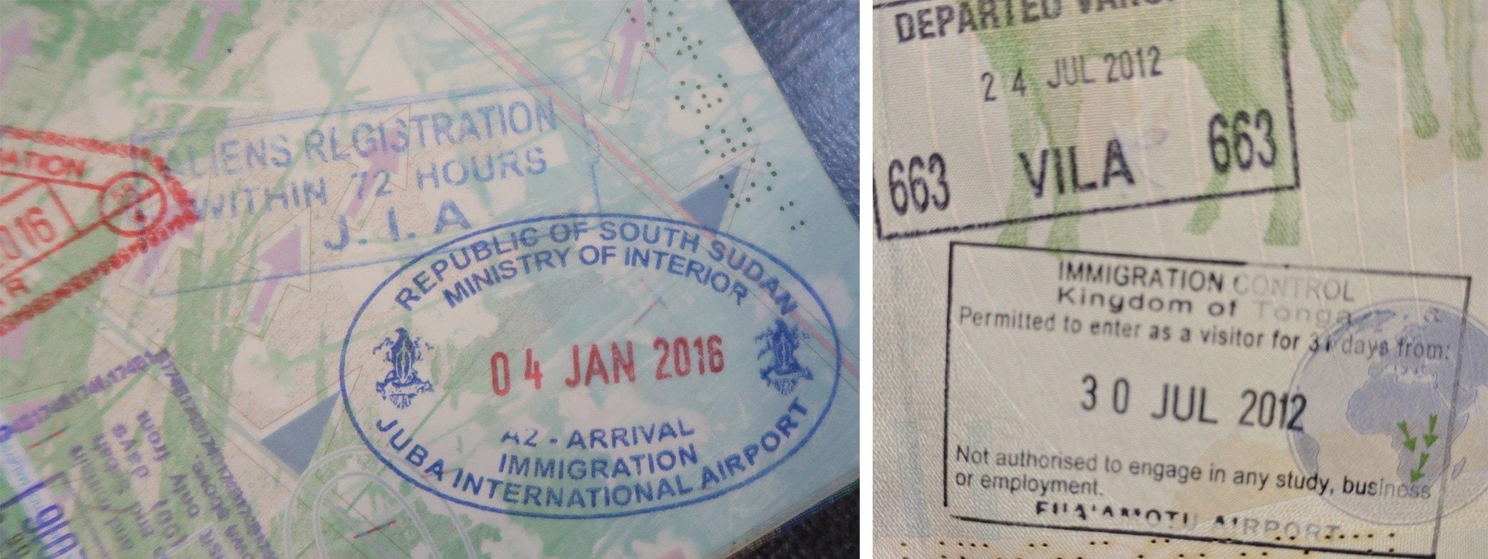 Passport Stamps For South Sudan And Tonga