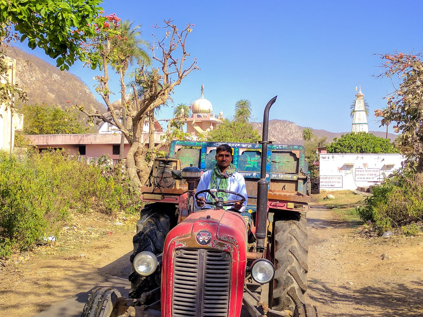 Tractor driving in Amangbagh