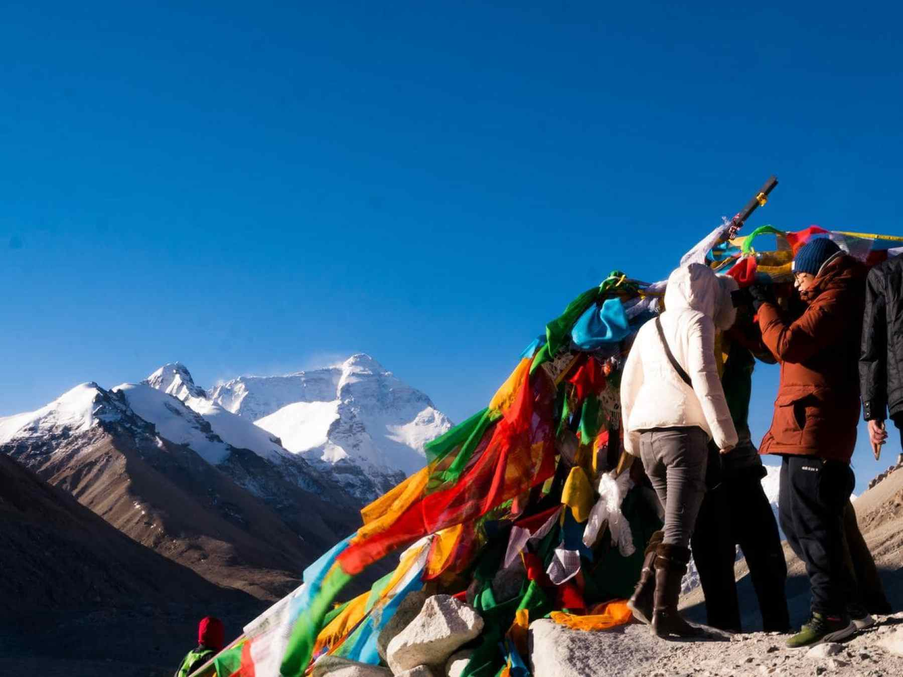 Everest Base camp in the guide to Tibet