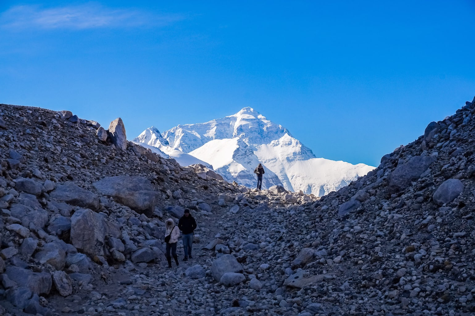 Trekking down from Everest