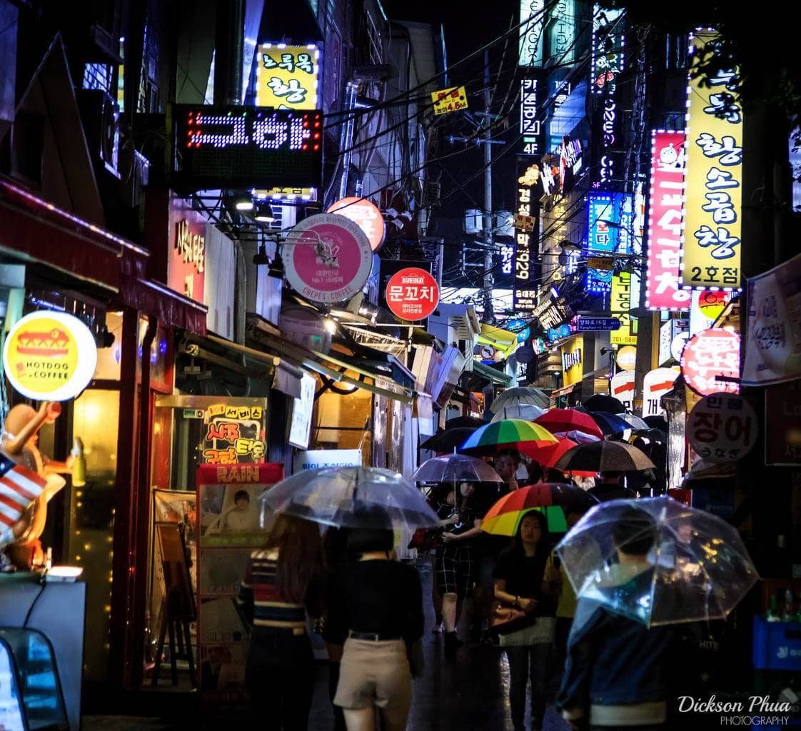 The back alleyways of bustling Hongdae