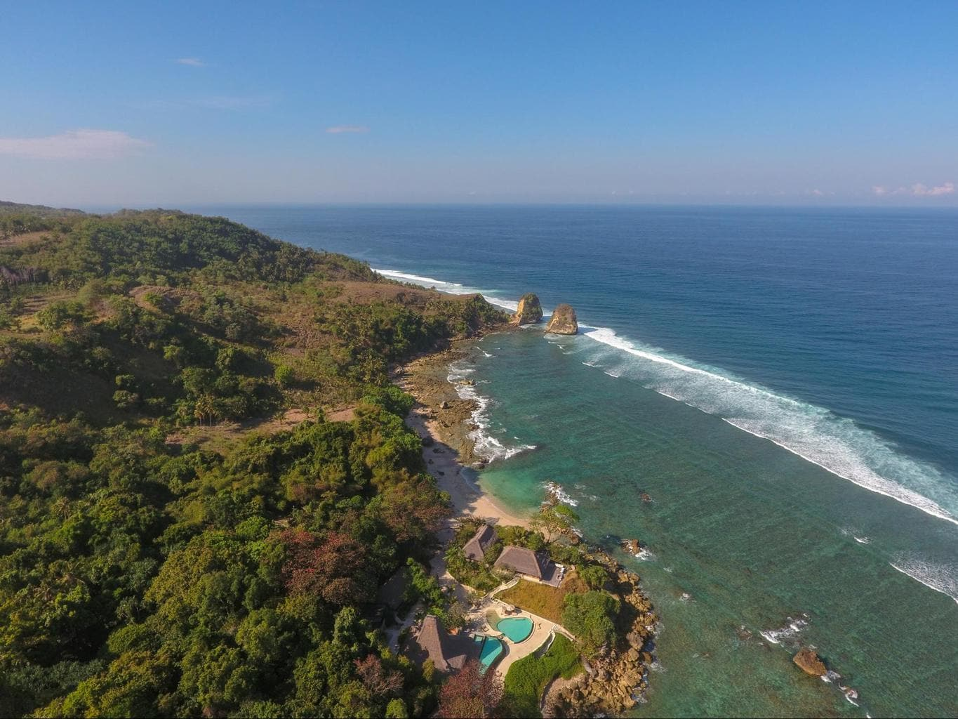 Nihi Sumba Hotel review, Drone shot of the island