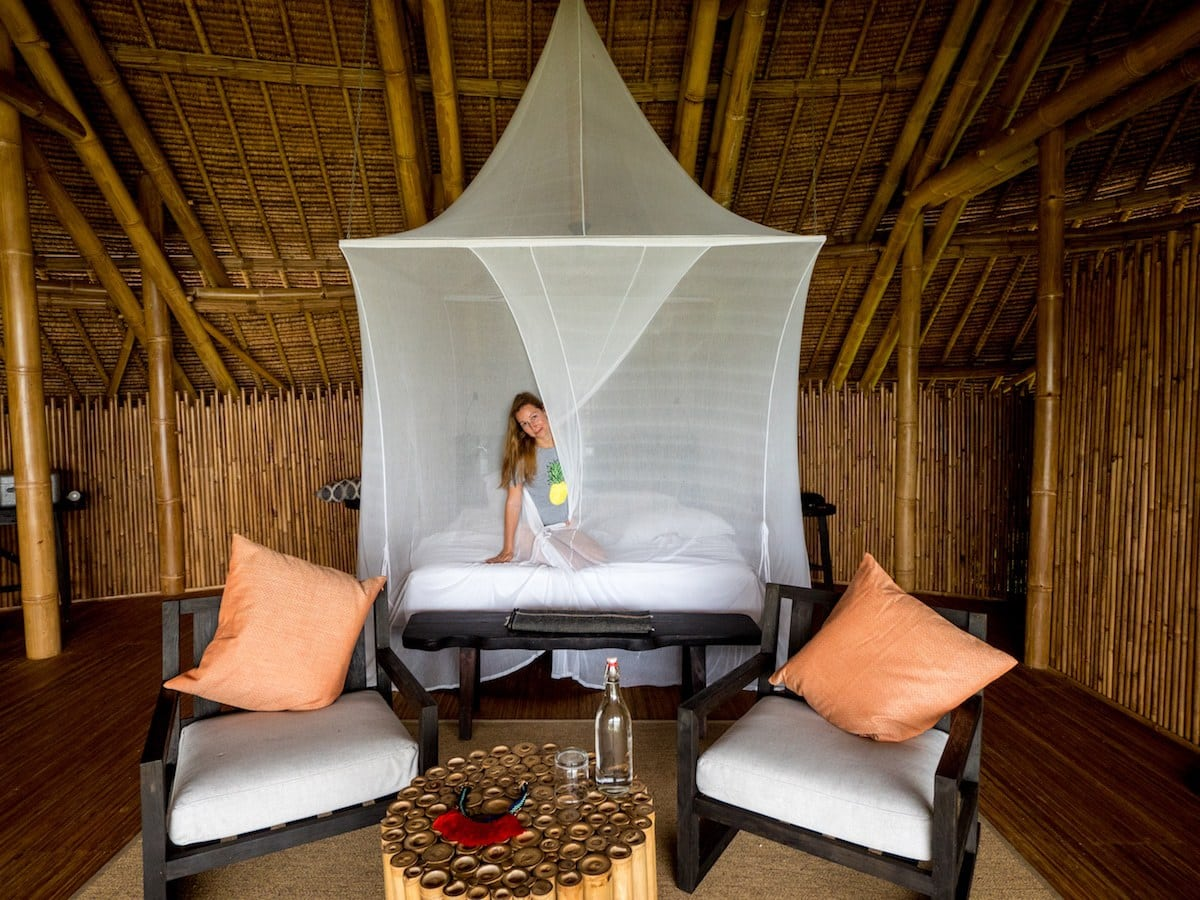 Mosquito netting in the pool villa on Cempedak