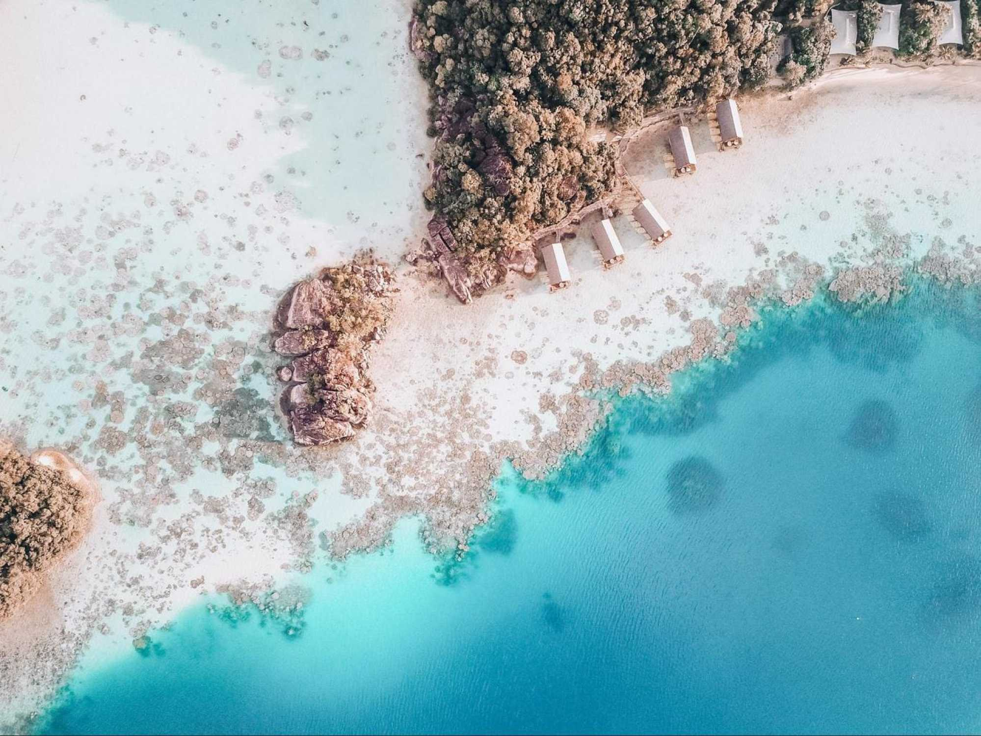 Drone shot of the rooms at Bawah Reserve