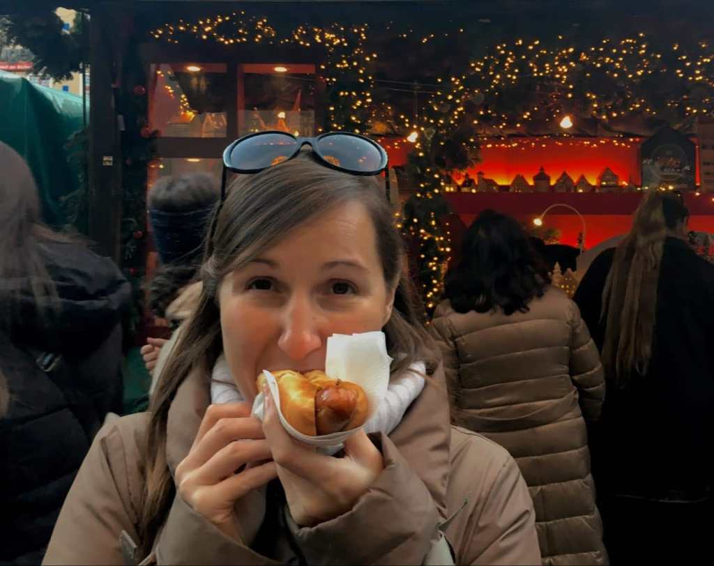 Me with a sausage. The gluhwein happened before
