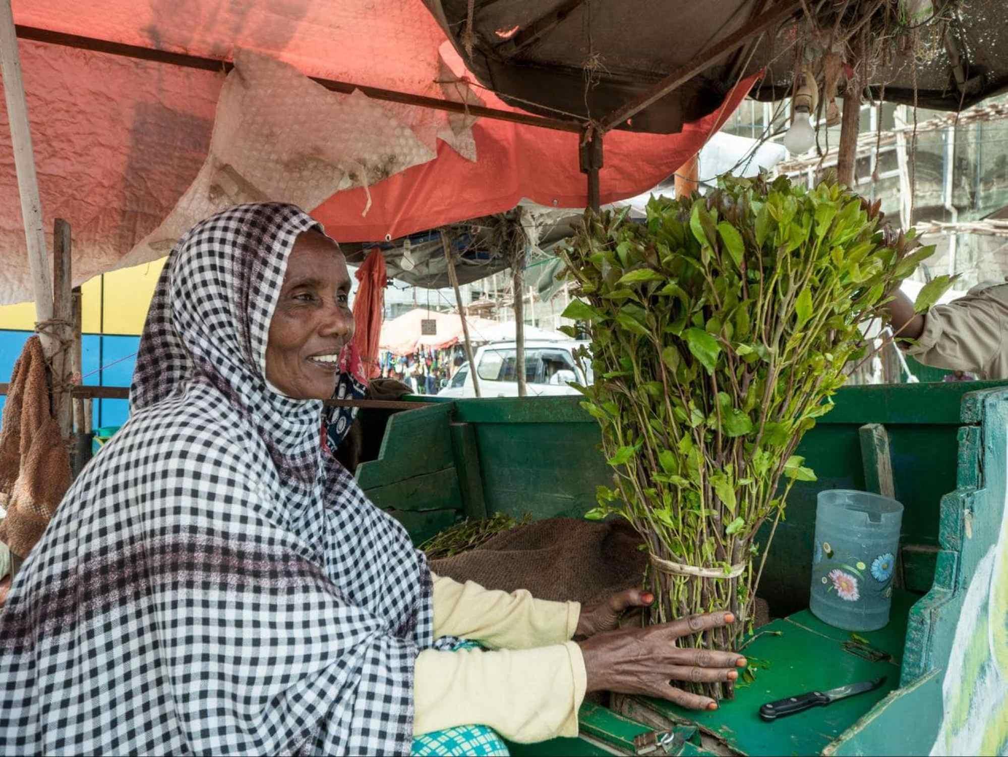 Khat seller in Hargeisa