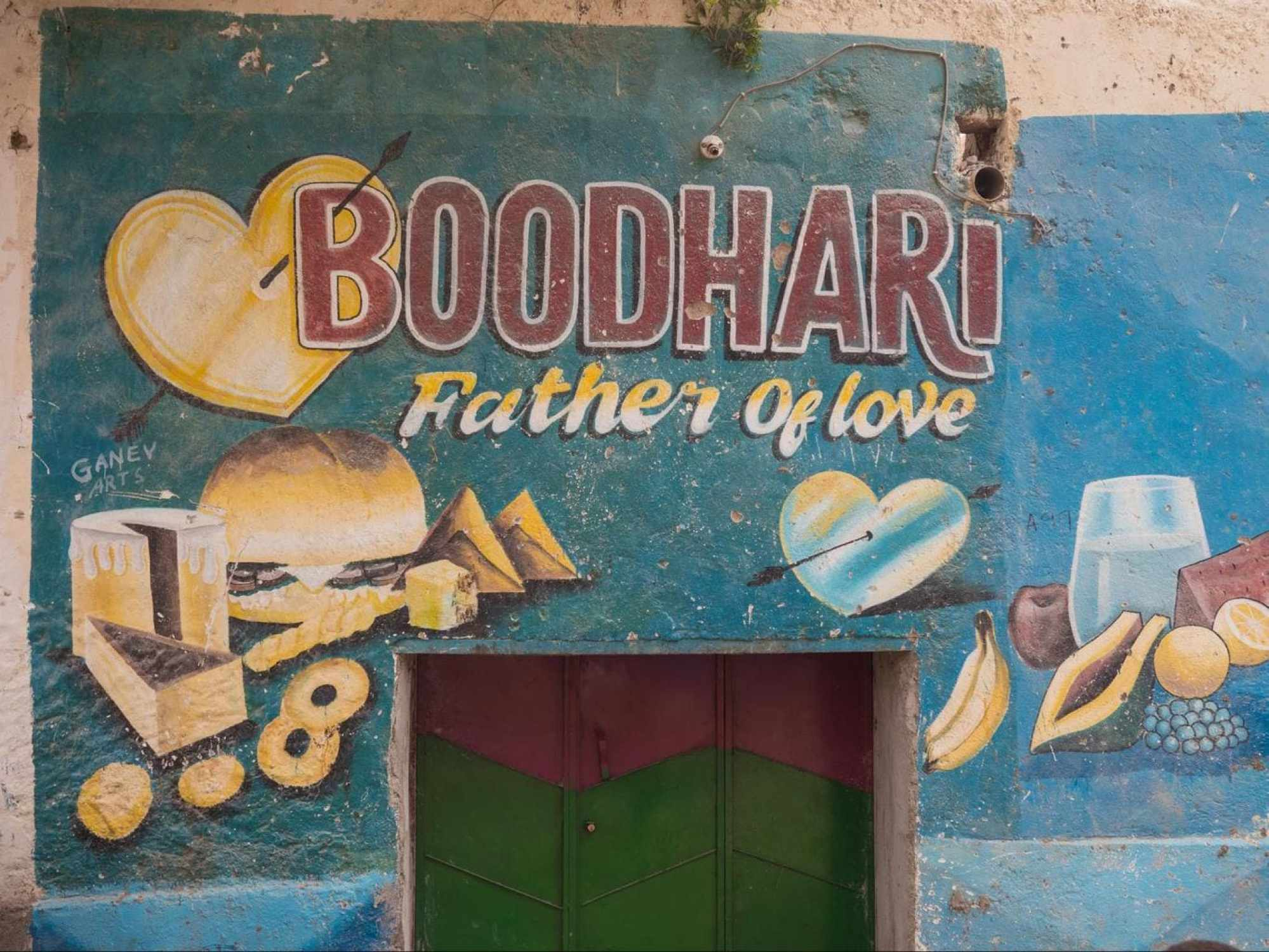 Local murals in Berbera with the range of goods for sale at the store
