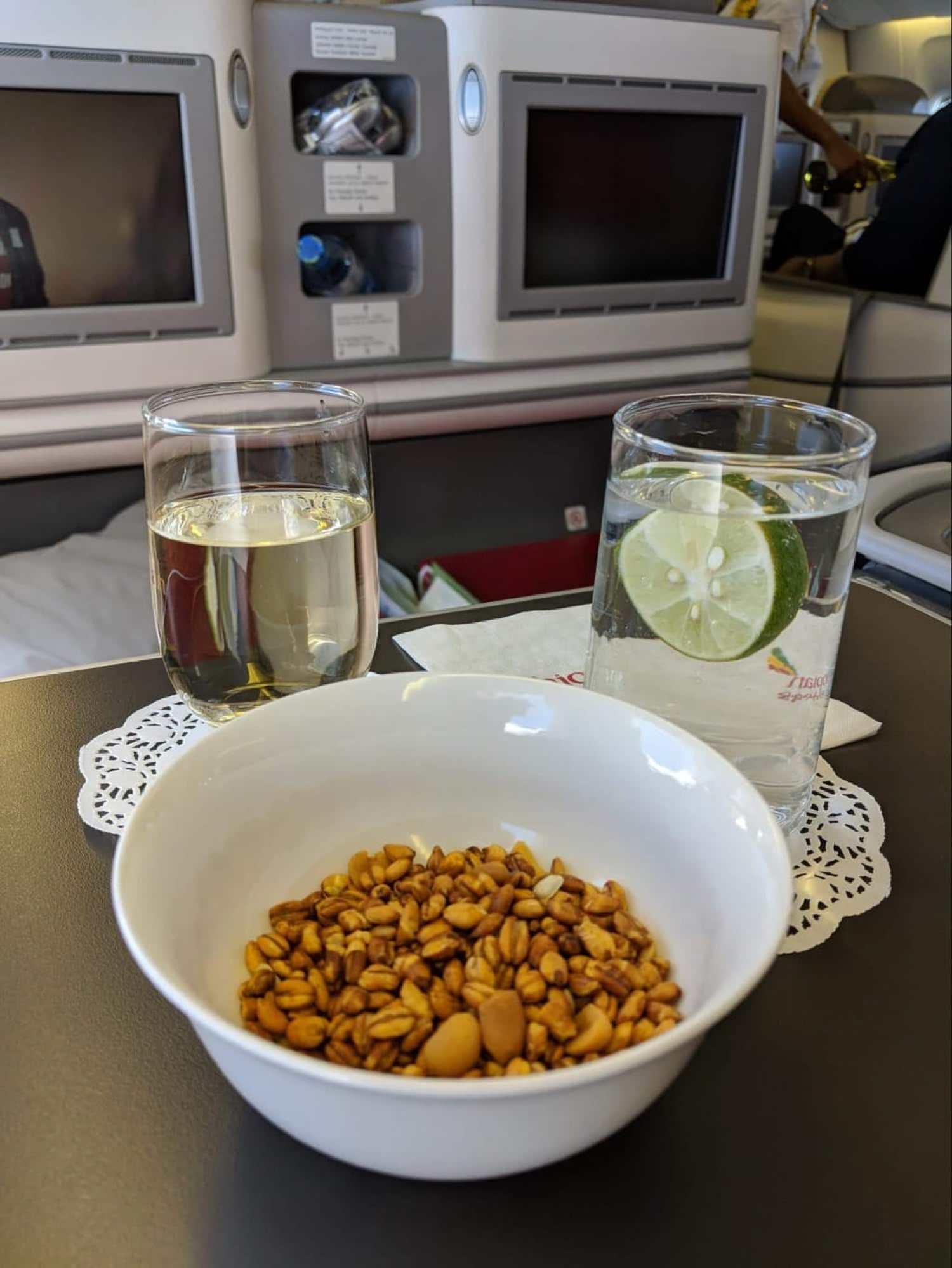 Snacks of kolo onboard Ethiopian Airlines Business Class