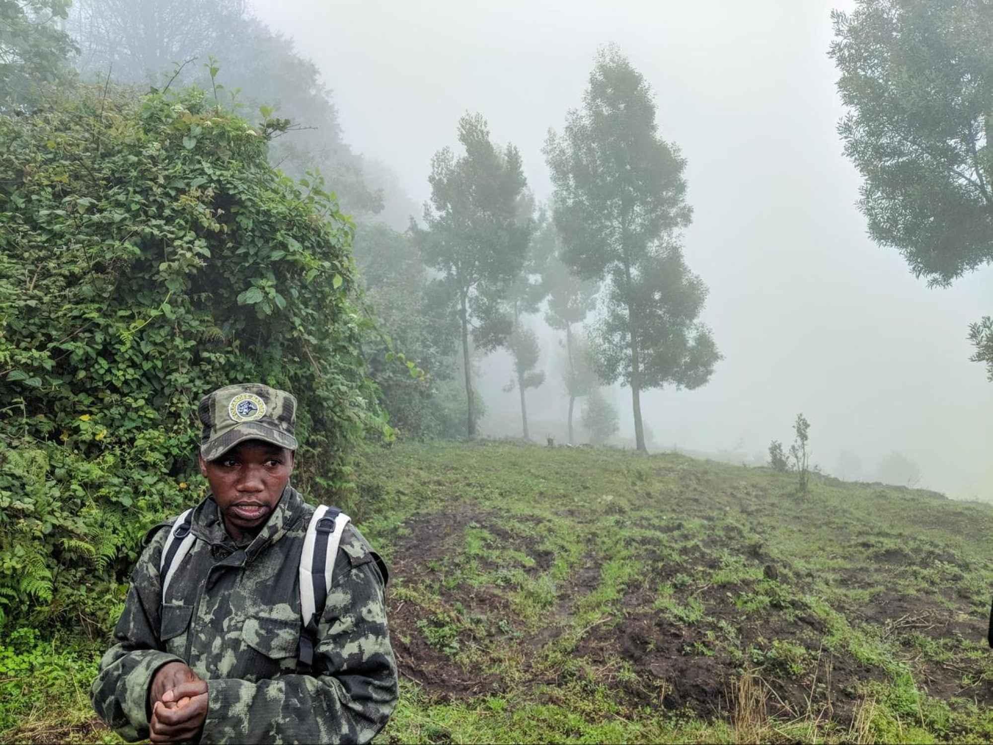 A stop on the gorilla trek along the farmland surrounding Volcanoes National Park