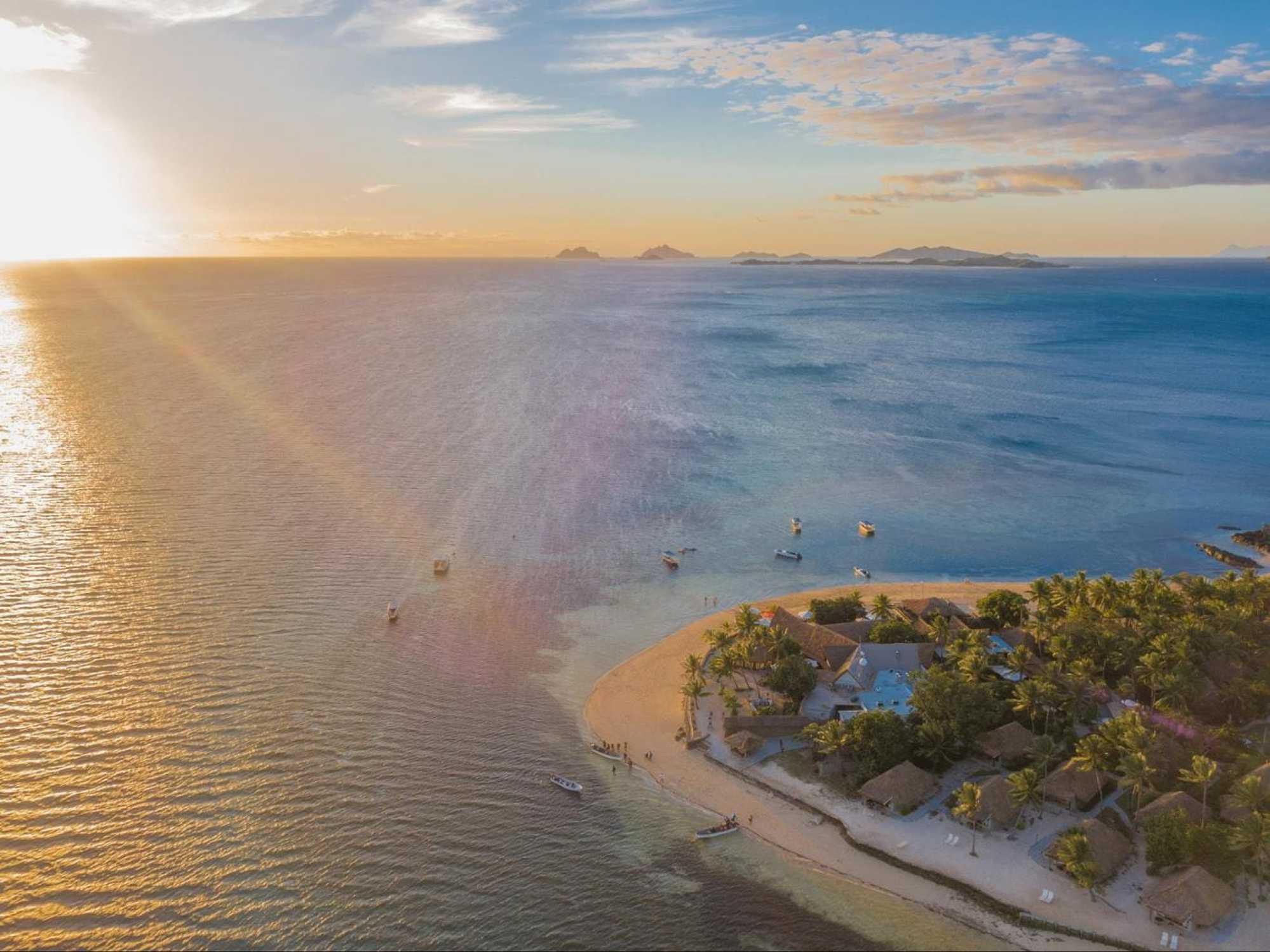 Castaway Island at sunset