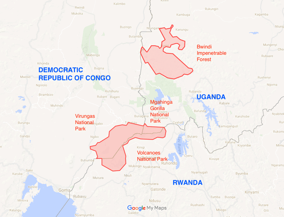 Map showing the places where Mountain gorillas live