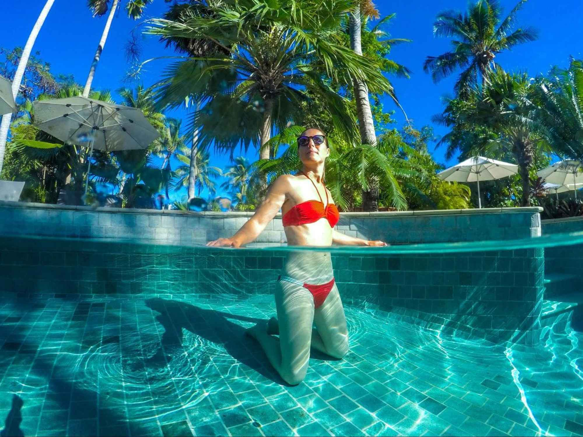 Swimming in the adults friendly pool at Castaway Island