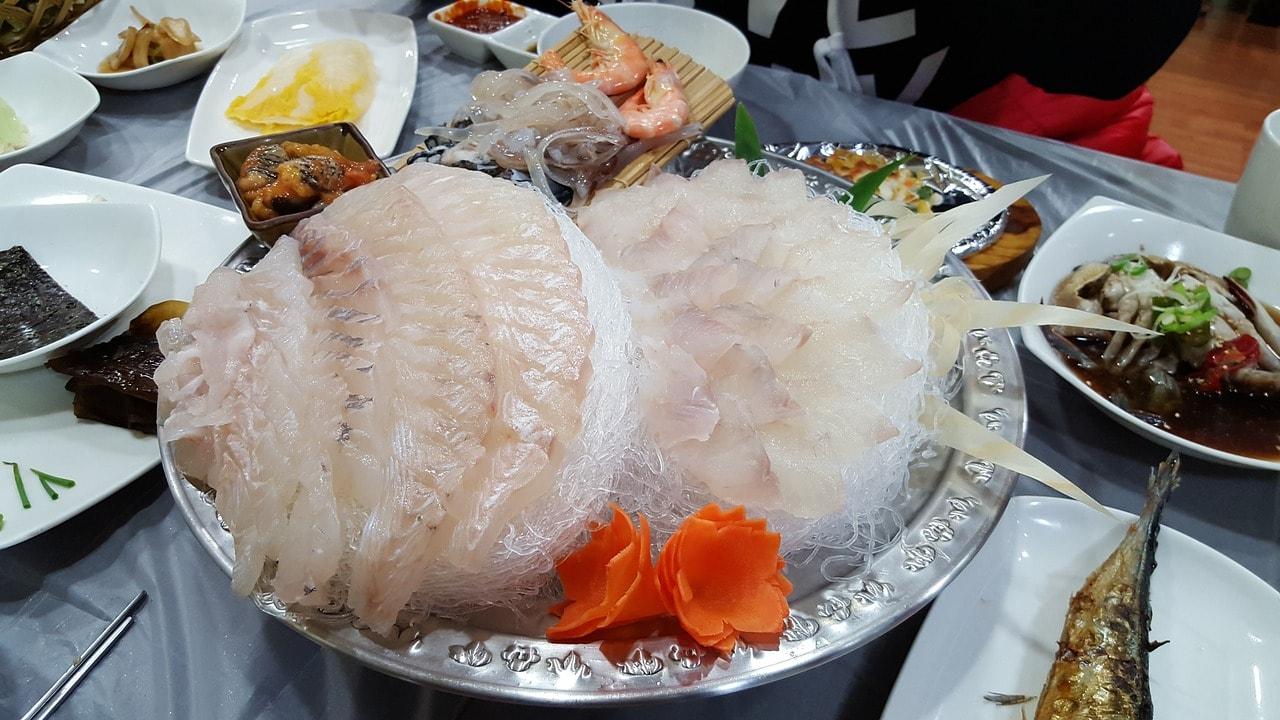 Korean sashimi or hwe, expensive and delicious