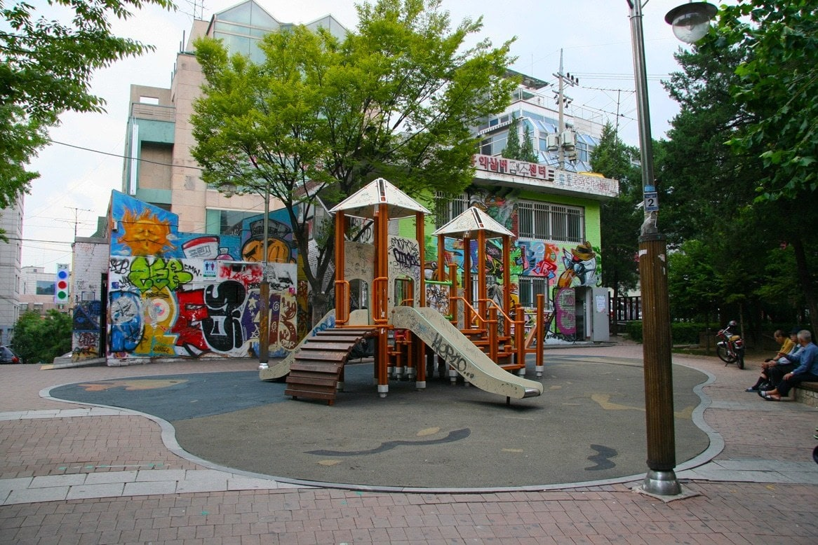 The old playground in Hongdae covered in graffiti