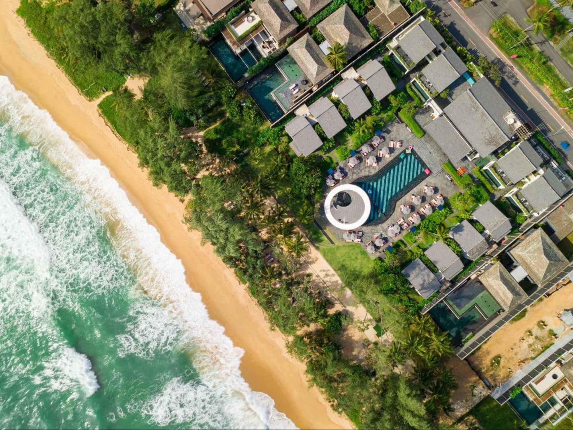 Aerial shot of Baba Beach Club Phuket