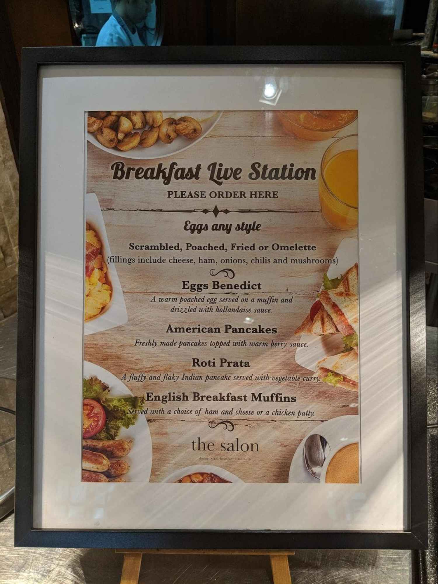 Cooked breakfast options at Hotel Fort Canning