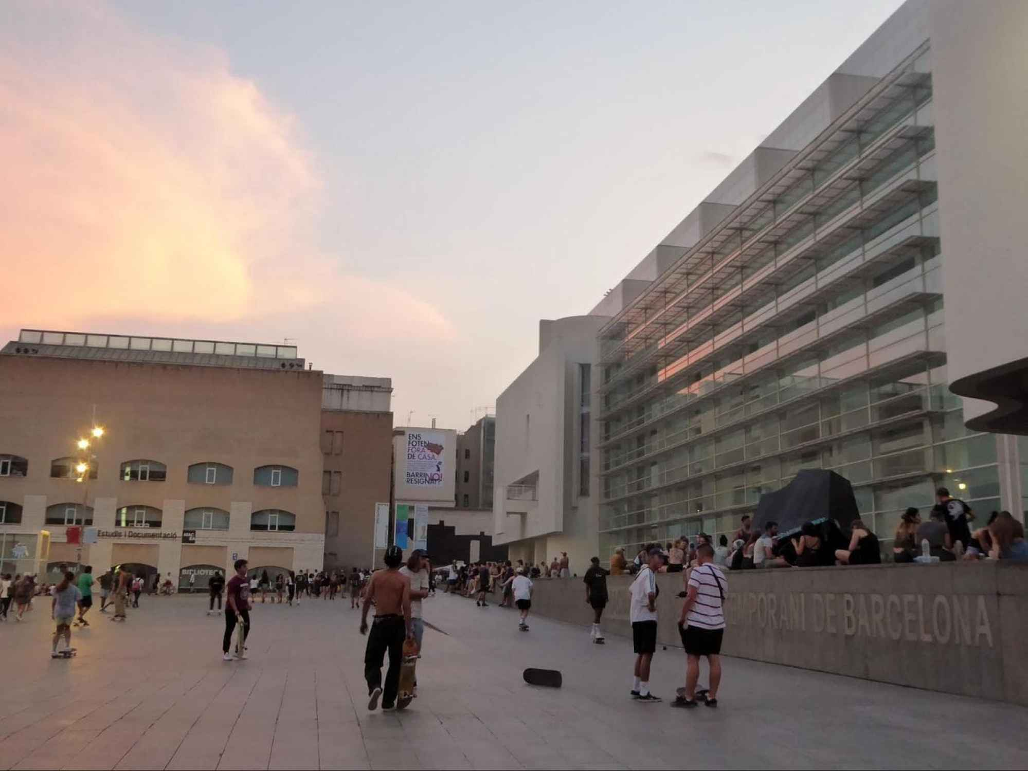 Skaters in front of MACBA