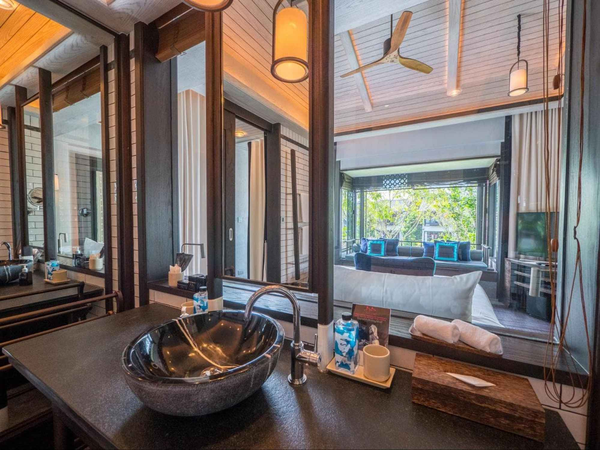 The view from the bathroom of the gabana at Baba Beach Club Phuket