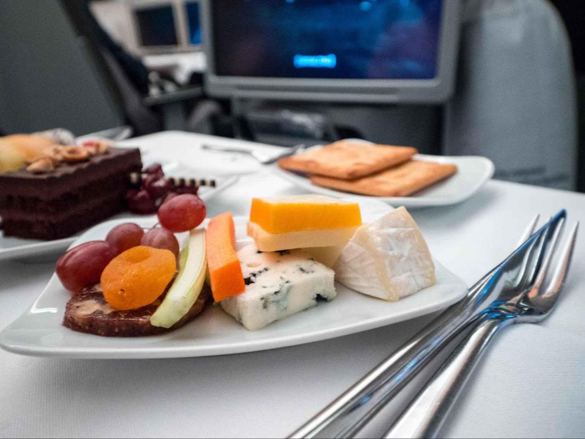 Lufthansa Business Class food - Cheese platter