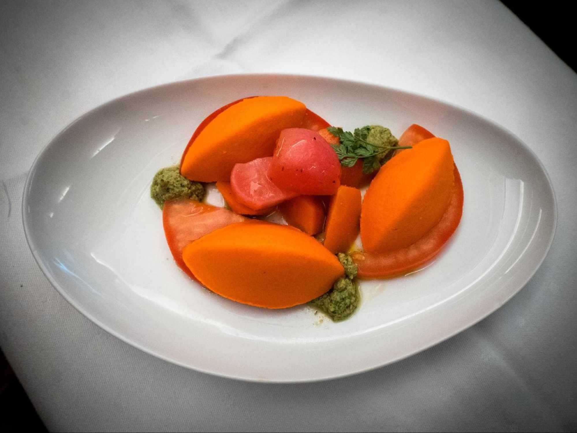 Lufthansa Business Class food - Red pepper quenelle