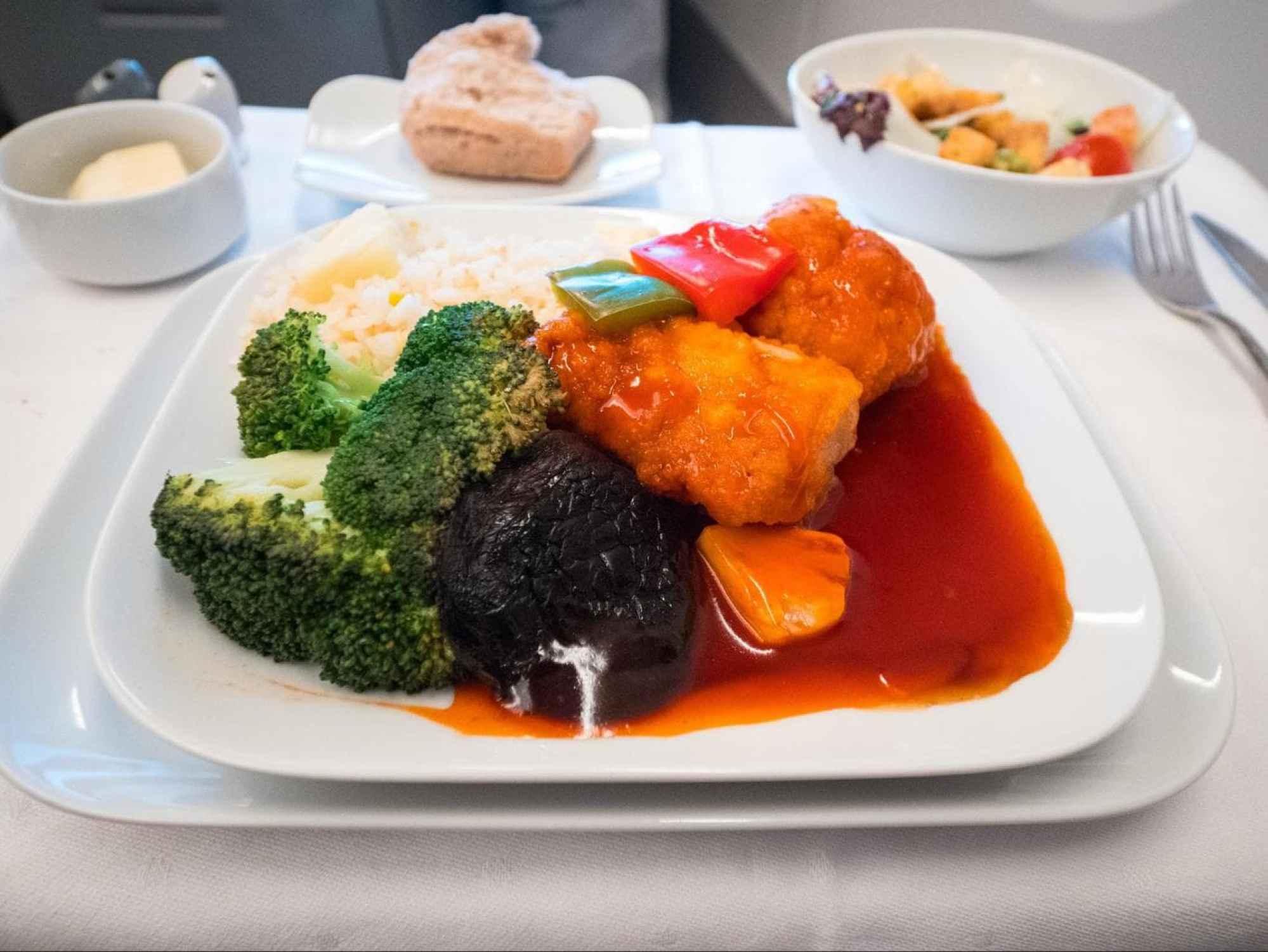 Lufthansa Business Class food - Sweet and sour garoupa