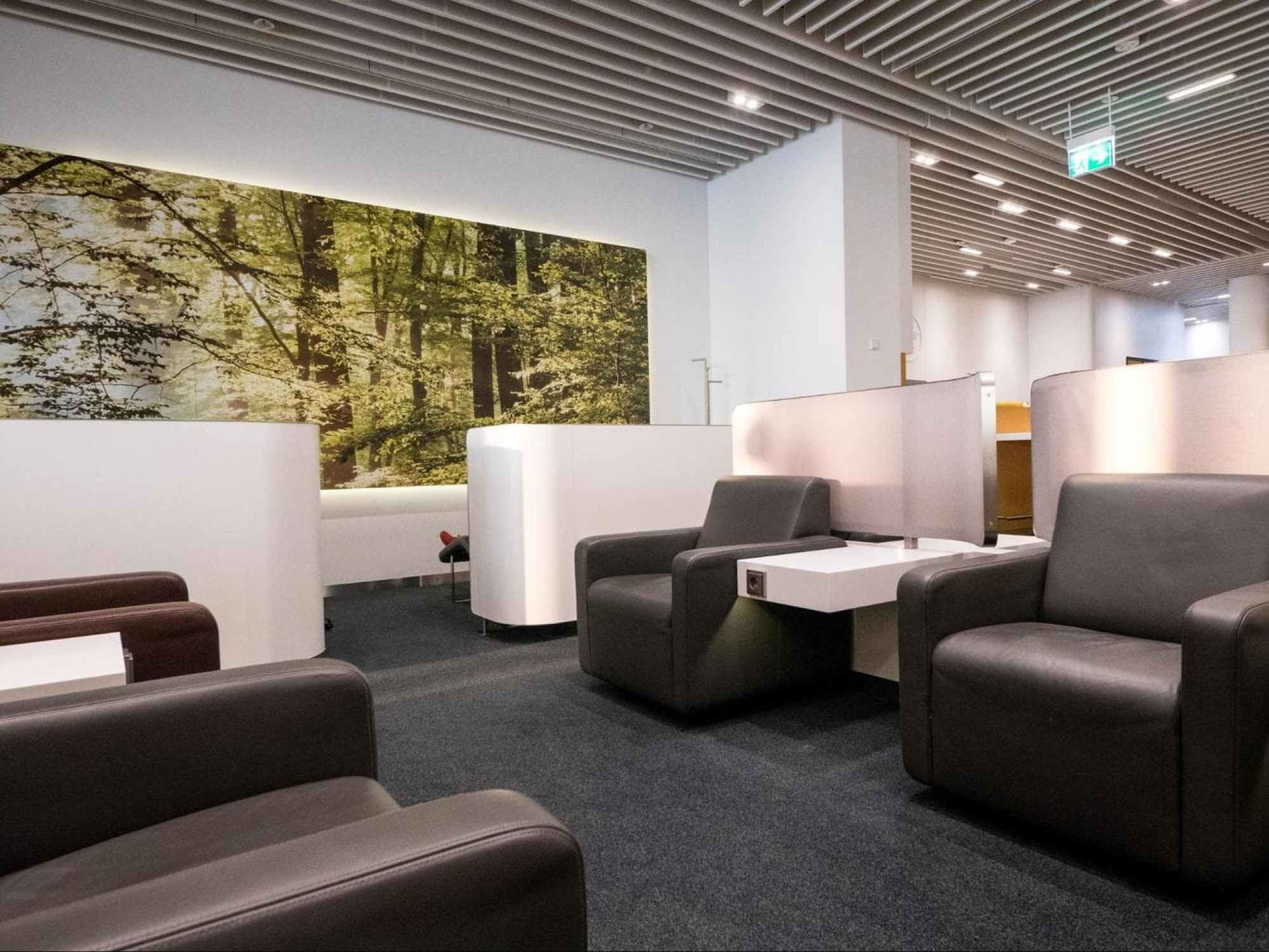 Sofas and relaxation area in Lufthansa Business Class Lounge at Munich Airport