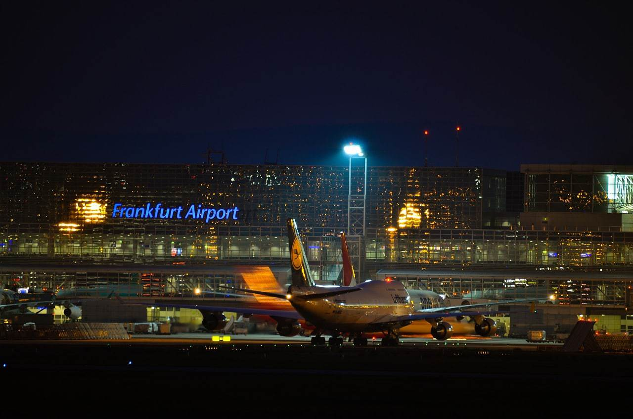 Frankfurt airport at night