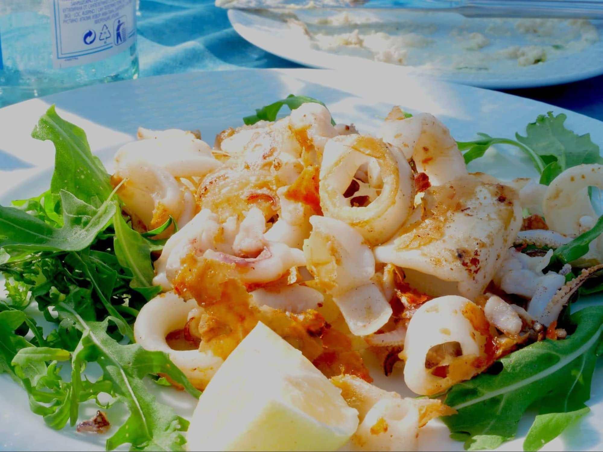 Fried calamari under the warm sun