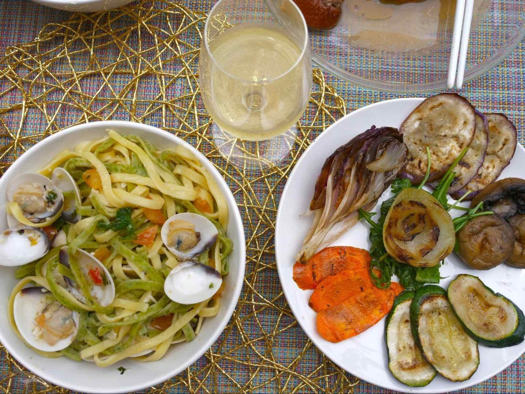 Pairing Muller Thurgau with grilled vegetables and shellfish pasta