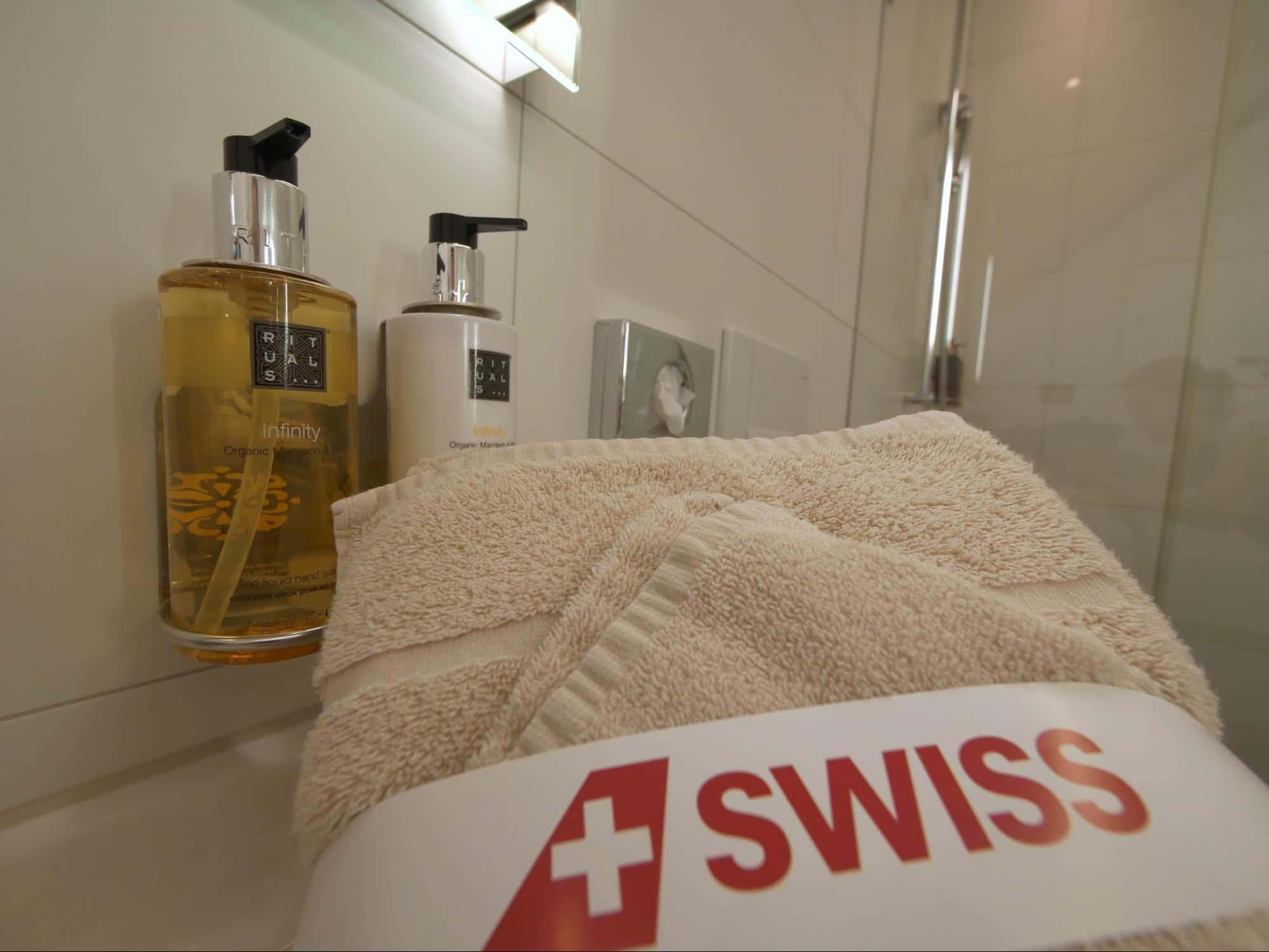 Shower amenities at Swiss arrival lounge in Zurich