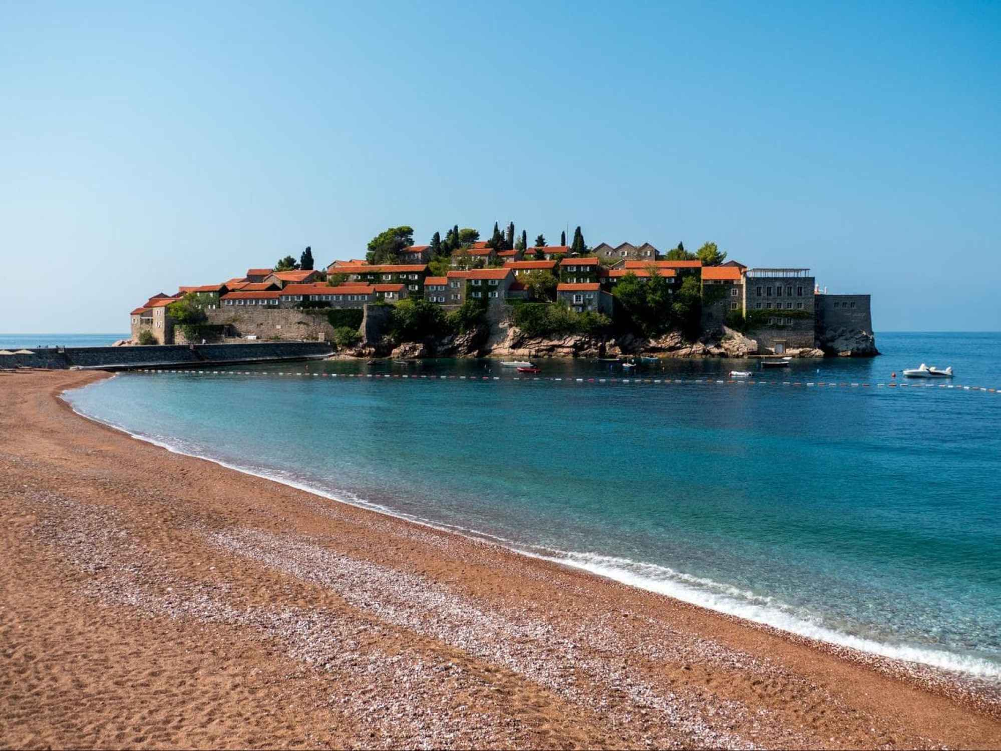 Sveti Stefan beach right in front of the island