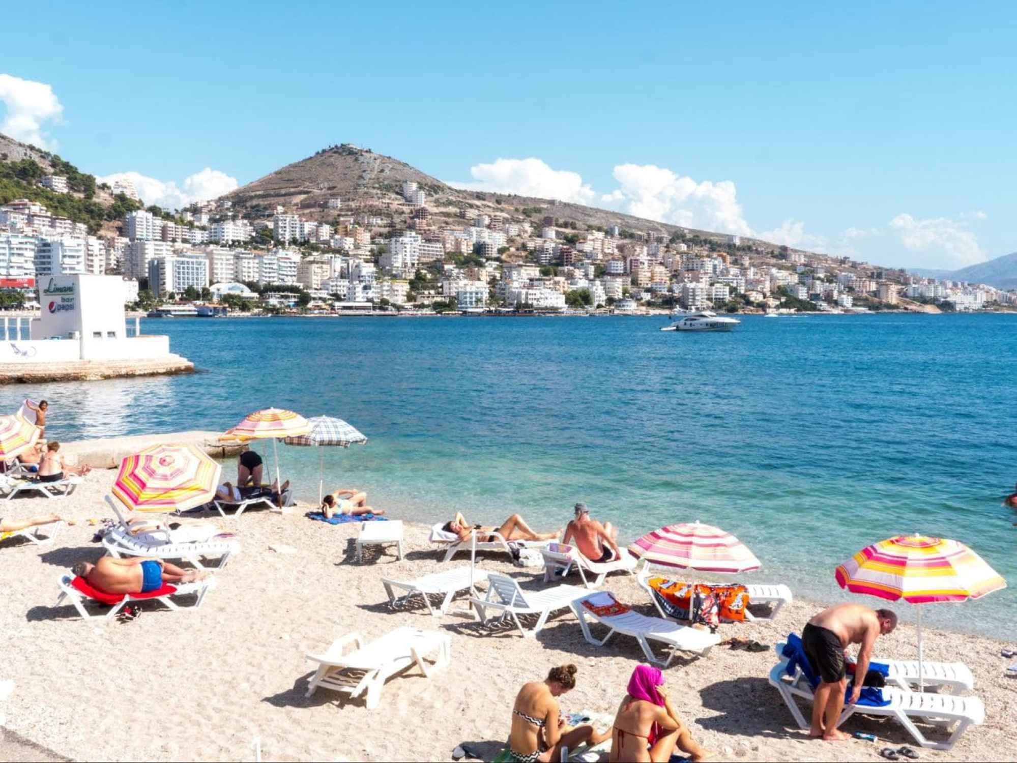 The beach in Saranda, one of the most popular beaches in Albania