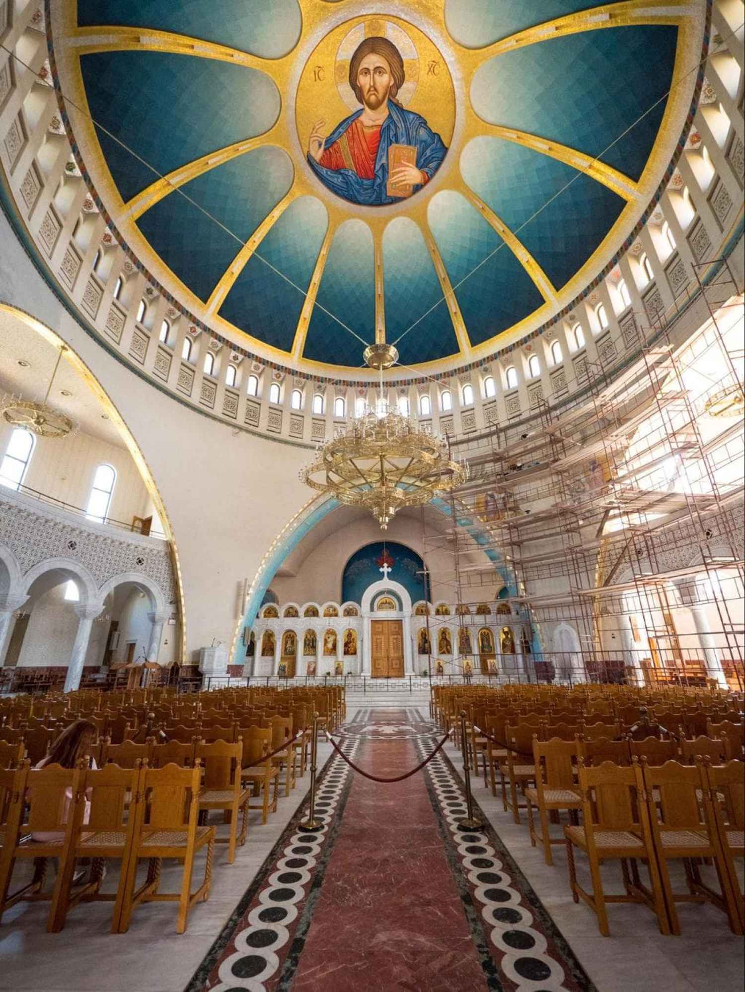 The dome murals inside the Resurrection of Christ Orthodox Cathedral in Tirana