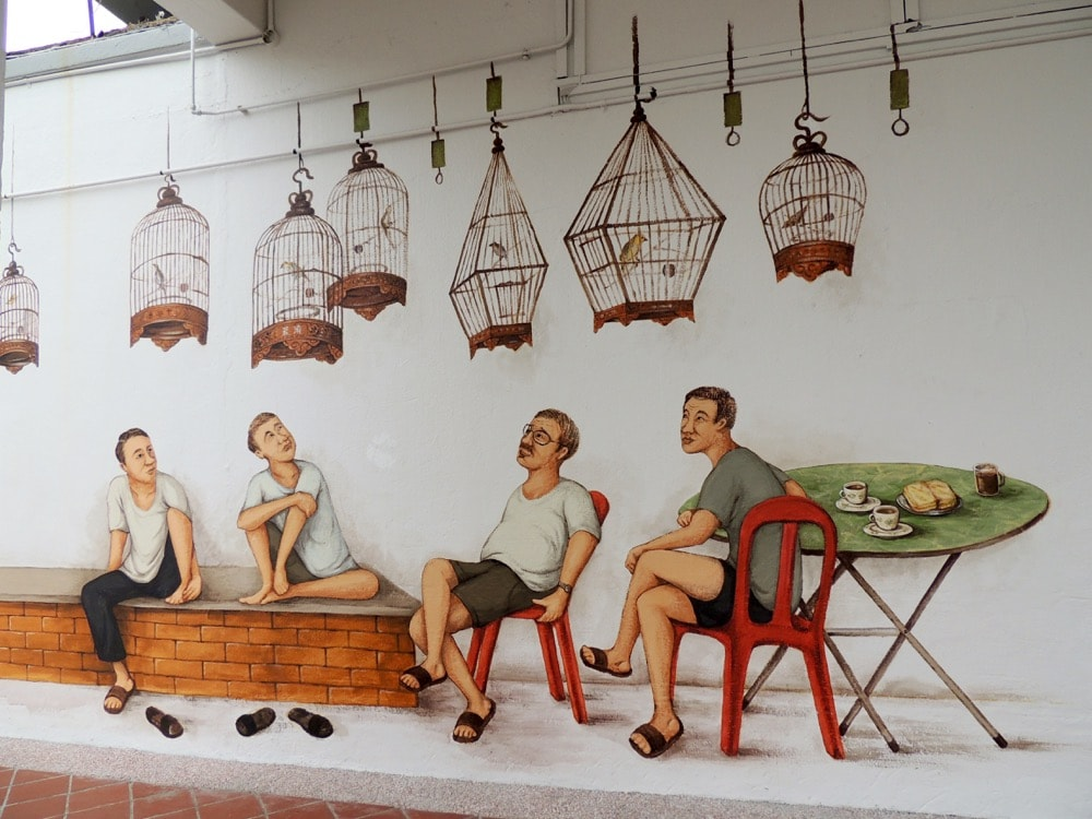Bird singing corner mural in Tiong Bahru Bird singing corner mural in Tiong Bahru