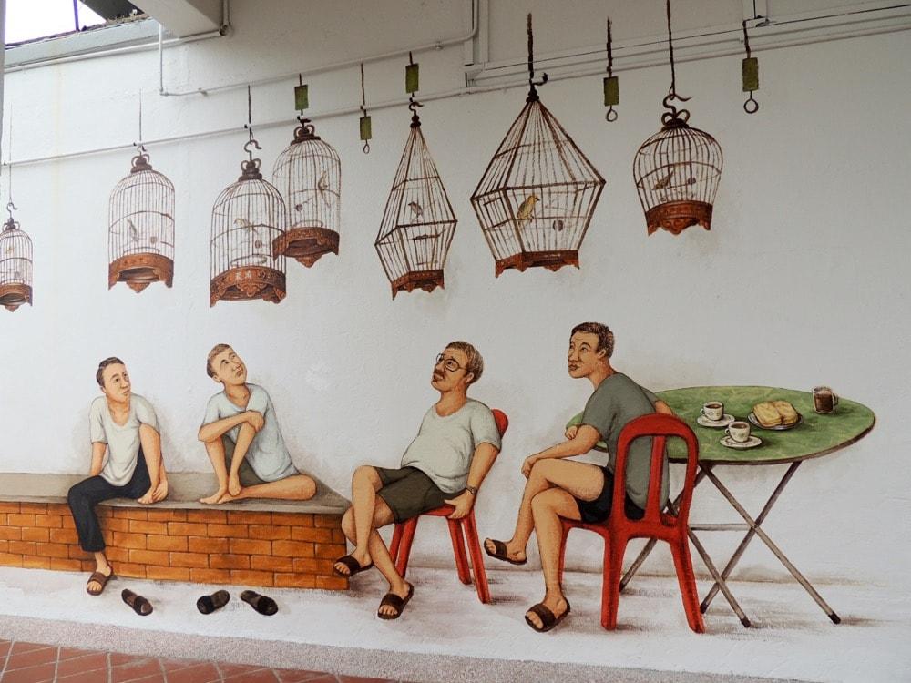 Bird singing corner mural in Tiong Bahru Bird singing corner mural in Tiong Bahru