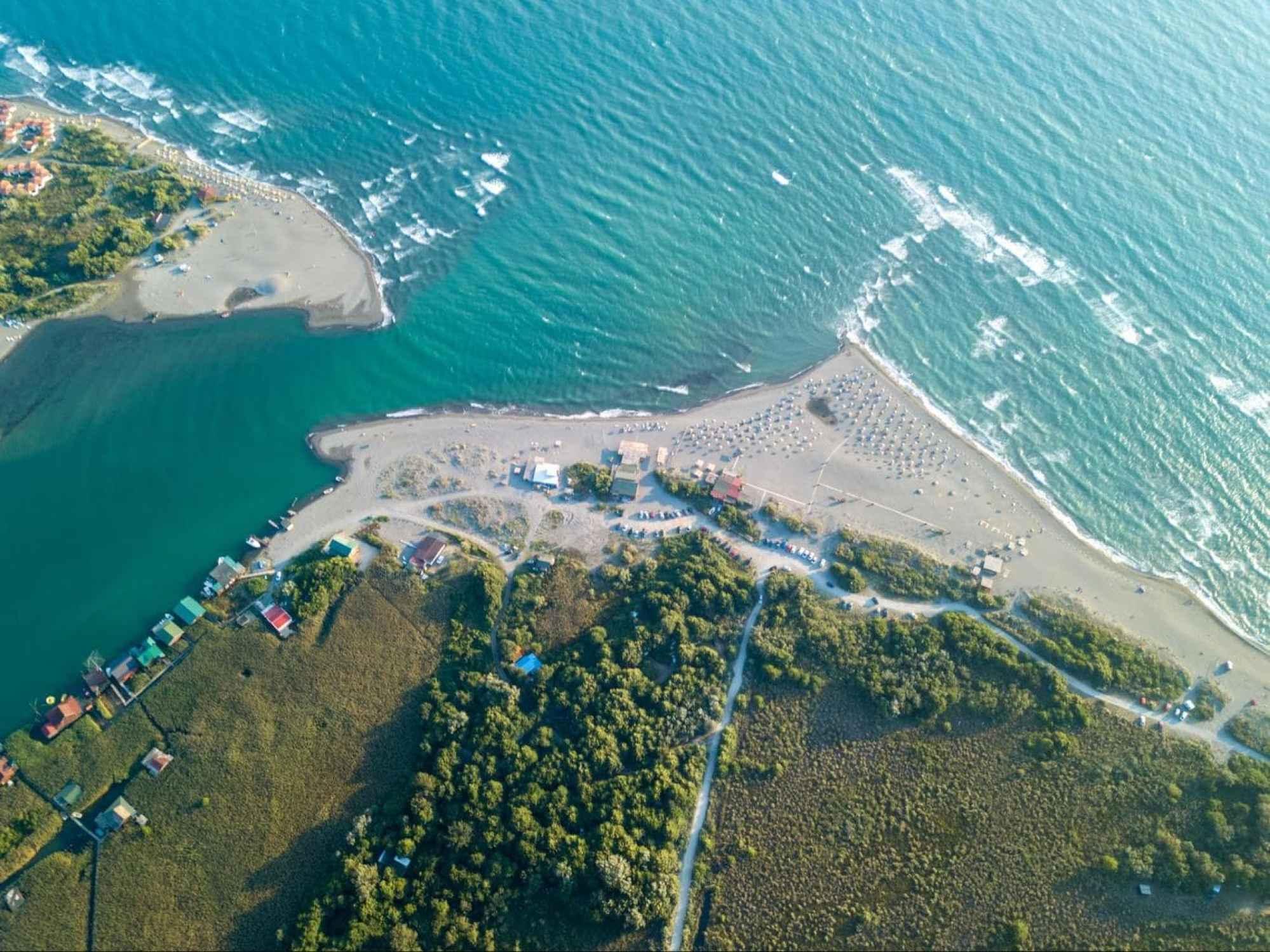 Ada Bojana island to the left