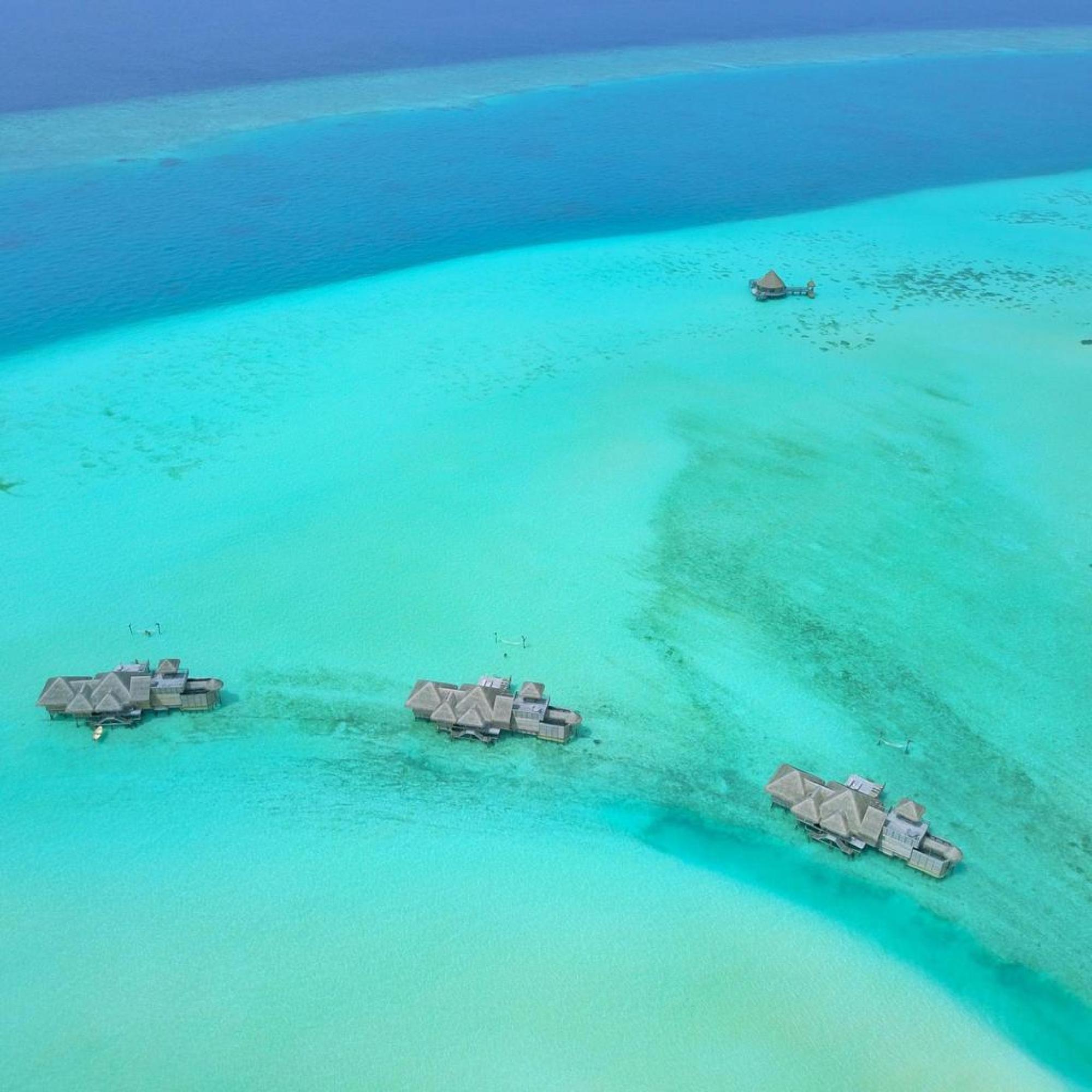 Gili Lankanfushi Crusoe Residences from the sky