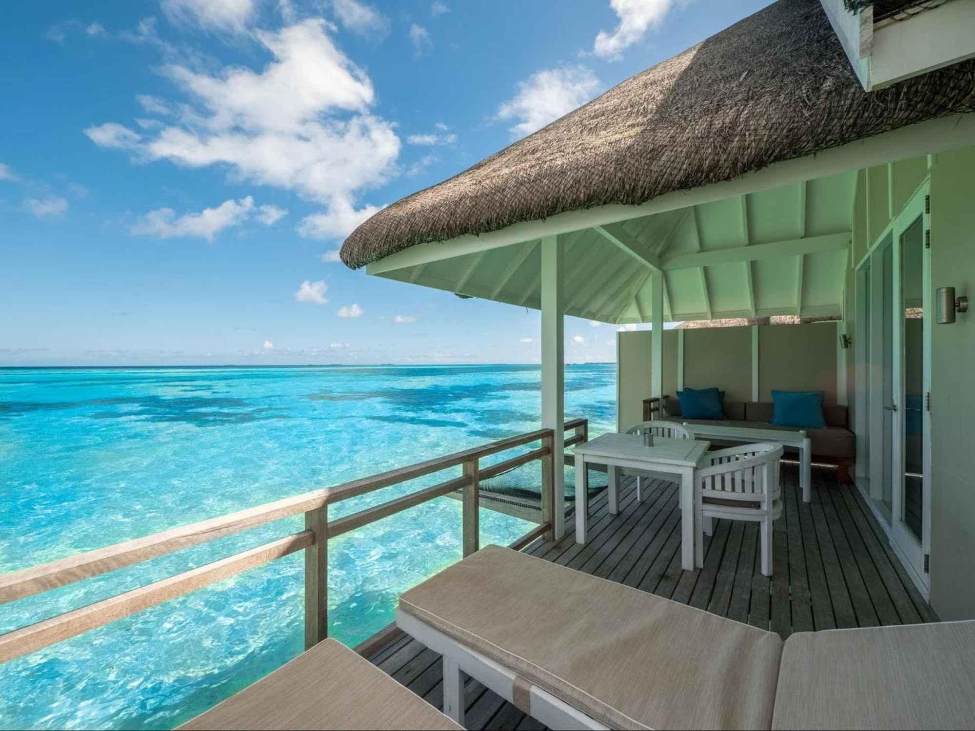 Outdoor deck at LUX* Maldives South Ari Atoll