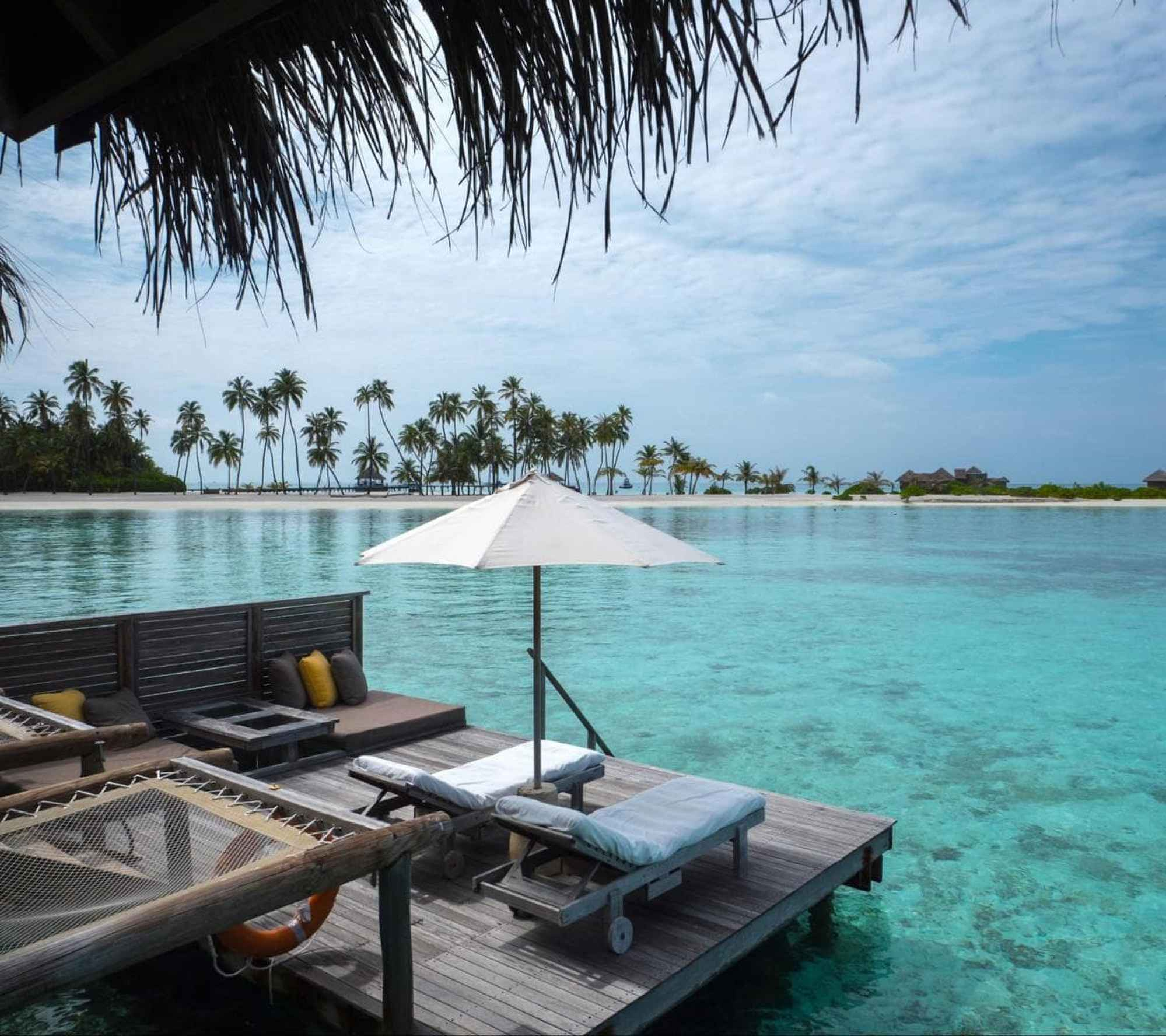 Outdoor terrace of the water villas at Gili Lankanfushi